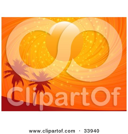 Clipart Illustration of a Sun In A Swirling Orange Sparkling Sunset Sky, Above Silhouetted Palm Trees by elaineitalia