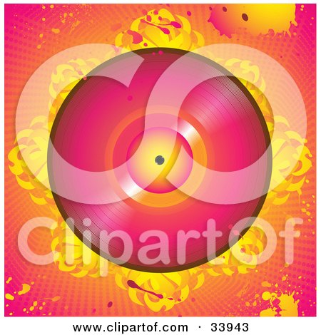 Clipart Illustration of a Pink Vinly Record On A Bed Of Abstract Flames, Over A Grunge Pink And Orange Background With Splatters And Dots by elaineitalia