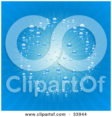 Clipart Illustration of a Blue Circle Of Bubbles Around Bright Rays Of Sunlight Emerging From The Surface Of Water by elaineitalia
