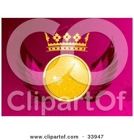 Clipart Illustration of a Yellow Disco Ball With A Crown And Pink Wings, Over A Pink Grunge Dotted And Splattered Background by elaineitalia