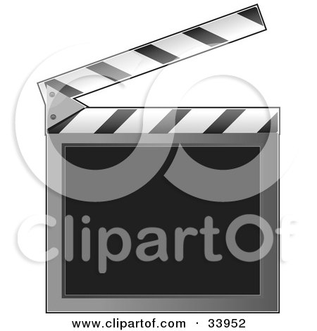 Clipart Illustration of an Open Clapperboard With A Blank Writing Area by Maria Bell