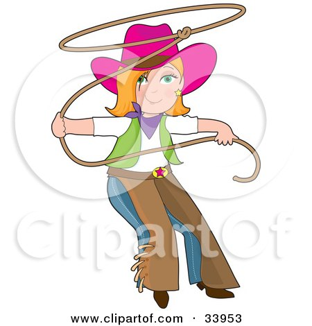 Clipart Illustration of a Teenage Cowgirl In Chaps And A Pink Hat, Swinging A Lasso by Maria Bell