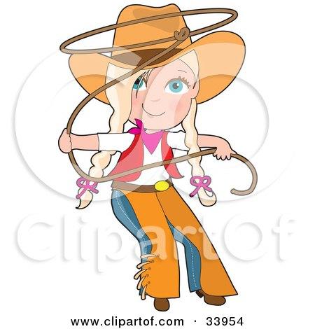 Cute Cowgirl In Chaps And A Hat, Swirling A Lasso, Her Blond Hair In Braids Posters, Art Prints