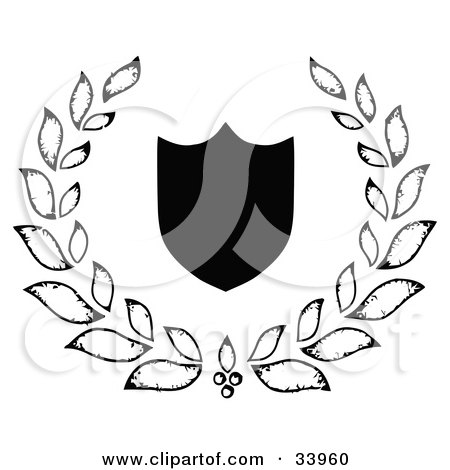 Clipart Illustration of a Black Silhouetted Shield, Surrounded By A Leafy Laurel by C Charley-Franzwa
