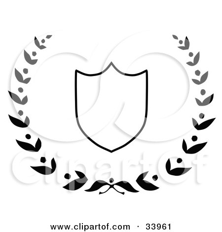 Clipart Illustration of a White Shield Outlined In Black, Surrounded By A Leafy Laurel by C Charley-Franzwa