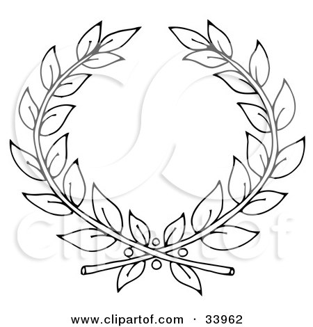Clipart Illustration of a Black And White Outline Of Two Branches Forming A Laurel by C Charley-Franzwa
