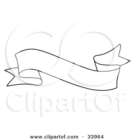 Clipart Illustration of a Waving Black And White Banner With Text Space by C Charley-Franzwa