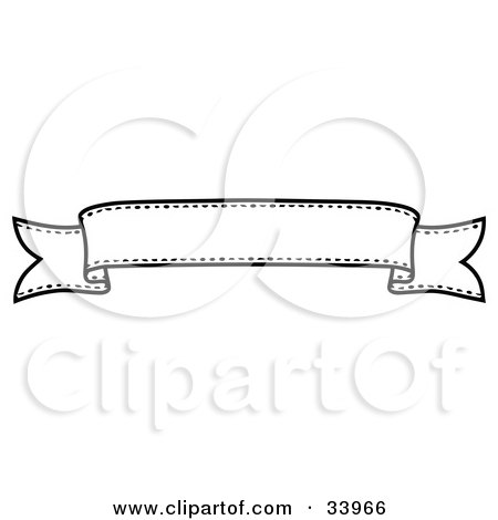 Clipart Illustration of a Black And White Banner With Space For Text by C Charley-Franzwa