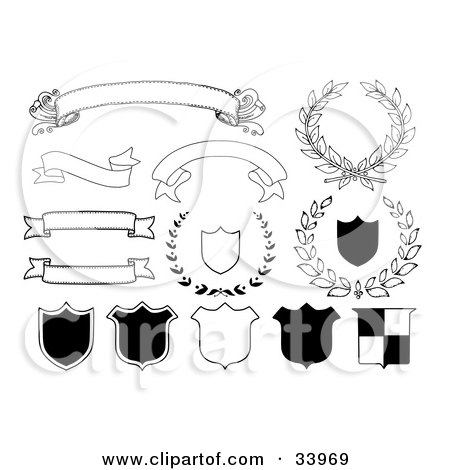 Clipart Illustration of Blank Banners, Shields And Laurels In Black And White by C Charley-Franzwa