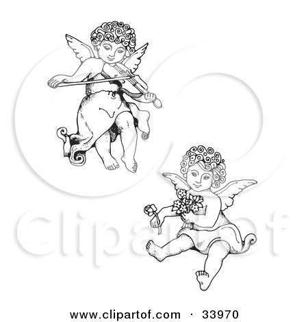 Clipart Illustration of Two Adorable Curly Haired Cherubs, One Playing A Violin And Flying, The Other Holding Flowers  by C Charley-Franzwa