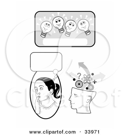 Clipart Illustration of a Lightbulb Text Box, Girl In Thought And Human Head Brainstorming by C Charley-Franzwa