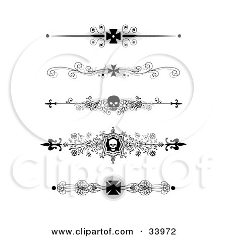 Clipart Illustration of a Set Of Five Black And White Iron Cross And Skull Headers, Dividers, Banners Or Lower Back Tattoo Designs by C Charley-Franzwa