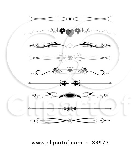 Clipart Illustration of a Set Of Nine Black And White Diamond, Heart, Flower And Maple Leaf Headers, Dividers, Banners Or Lower Back Tattoo Designs by C Charley-Franzwa