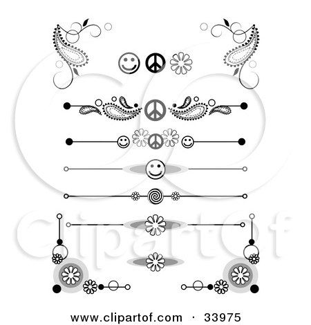 Clipart Illustration of a Set Of Black And White Peace, Smiley Face, Flower And Swirly Corner Designs, Symbols, Headers, Dividers, Banners Or Lower Back Tattoo Designs by C Charley-Franzwa