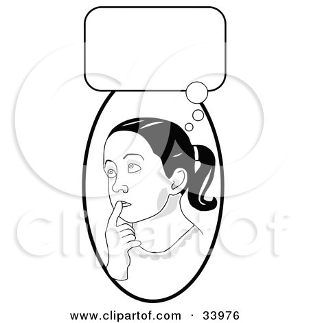 Clipart Illustration of a Smart School Girl In Thought, Touching Her Lips And Looking Up, With A Thought Bubble by C Charley-Franzwa