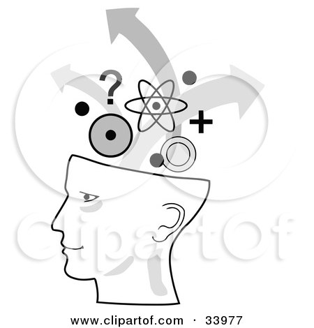 Clipart Illustration of a Human Head In Profile, Brainstorming With Arrows, Circles, Questions And Atoms by C Charley-Franzwa