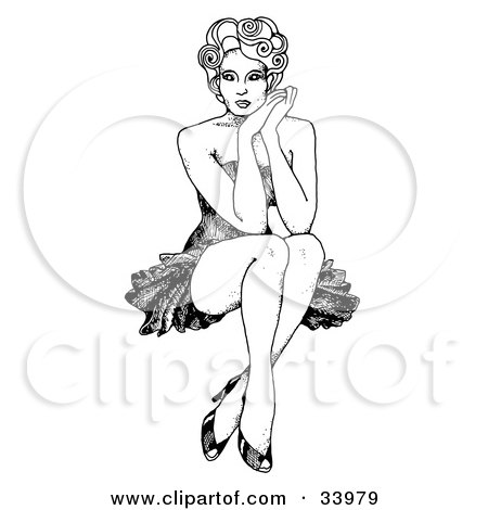 Clipart Illustration of a Sexy 1940's Inspired Pinup Girl With Curly Hair, Seated With Her Ankles Crossed, Resting Her Face Against Her Hands by C Charley-Franzwa