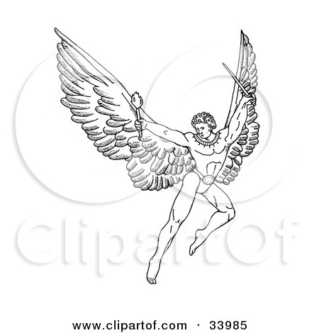 Clipart Illustration of a Pen And Ink Drawing Of A Male Warrior Angel With Large Wings, Flying With A Torch And Sword by C Charley-Franzwa