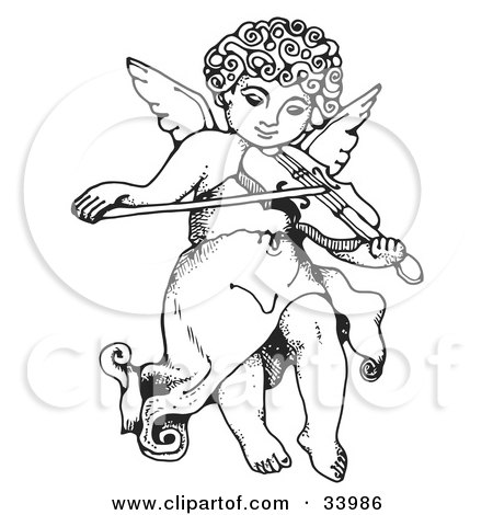 Clipart Illustration Of An Innocent Cherub With Curly Hair Flying And Playing A Violin