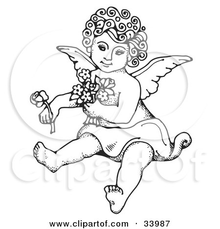Clipart Illustration of a Sweet Curly Haired Cherub Sitting On The Ground, Holding Flowers In One Arm And A Rose Out In One Hand by C Charley-Franzwa