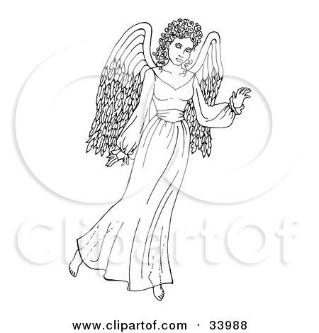 Clipart Illustration of a Beautiful African Angel Gesturing With One Hand by C Charley-Franzwa