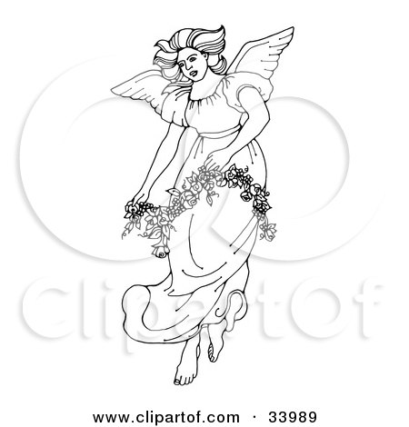 Clipart Illustration of a Beautiful Winged Angel In A Gown, Carrying A Floral Garland by C Charley-Franzwa