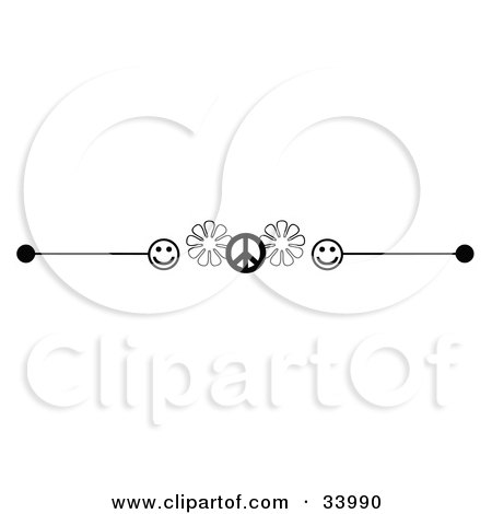 Clipart Illustration of a Black And White Happy Face, Flower And Peace Symbol Header, Divider, Banner Or Lower Back Tattoo Design by C Charley-Franzwa