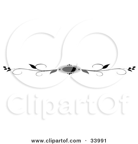 Clipart Illustration of a Black And White Vines And Circle Header, Divider, Banner Or Lower Back Tattoo Design by C Charley-Franzwa