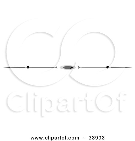 Clipart Illustration of a Black And White Spear And Oval Header, Divider, Banner Or Lower Back Tattoo Design by C Charley-Franzwa
