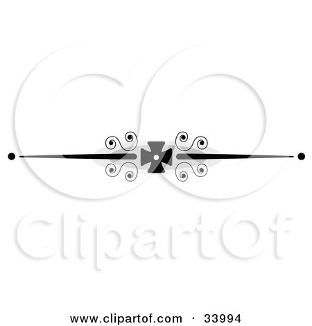 Clipart Illustration of a Black And White Thick Black Iron Cross With Scrolls Header, Divider, Banner Or Lower Back Tattoo Design by C Charley-Franzwa