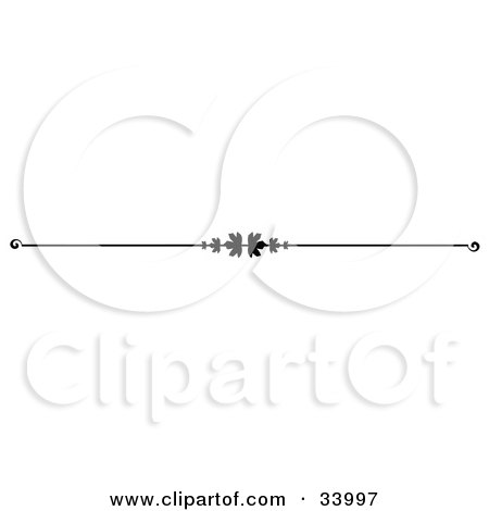 Clipart Illustration of a Black And White Maple Leaf Header, Divider, Banner Or Lower Back Tattoo Design by C Charley-Franzwa