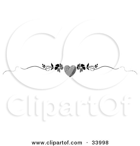 Clipart Illustration of a Black And White Grunge Heart With Flowers And Vines Header, Divider, Banner Or Lower Back Tattoo Design by C Charley-Franzwa