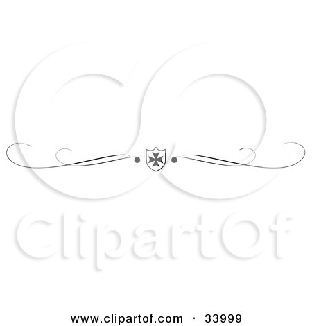 Clipart Illustration of a Black And White Iron Cross Shield And Scroll Header, Divider, Banner Or Lower Back Tattoo Design by C Charley-Franzwa