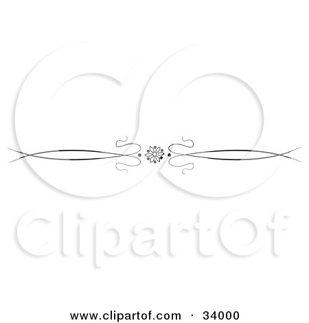 Clipart Illustration of a Black And White Daisy Flower With Ribbons Header, Divider, Banner Or Lower Back Tattoo Design by C Charley-Franzwa