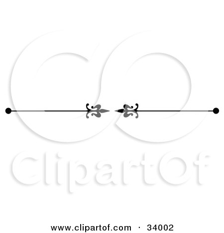 Clipart Illustration of a Black And White Elegant Spears Pointing Inwards Header, Divider, Banner Or Lower Back Tattoo Design by C Charley-Franzwa