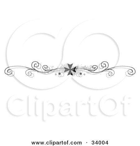 Clipart Illustration of a Black And White Elegant Iron Cross With Scrolls And Grunge Header, Divider, Banner Or Lower Back Tattoo Design by C Charley-Franzwa