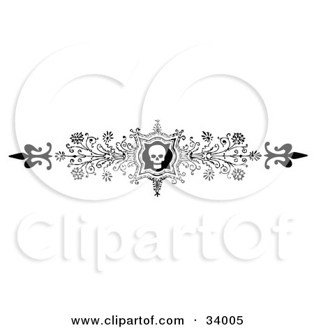 Clipart Illustration of an Ornate Black And White Skull And Flower Header, Divider, Banner Or Lower Back Tattoo Design by C Charley-Franzwa