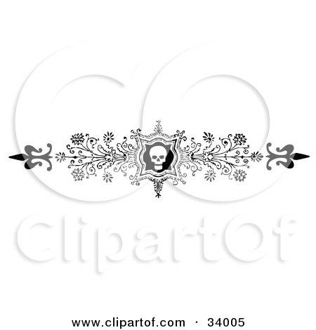 Ornate Black And White Skull And Flower Header, Divider, Banner Or Lower Back Tattoo Design Posters, Art Prints