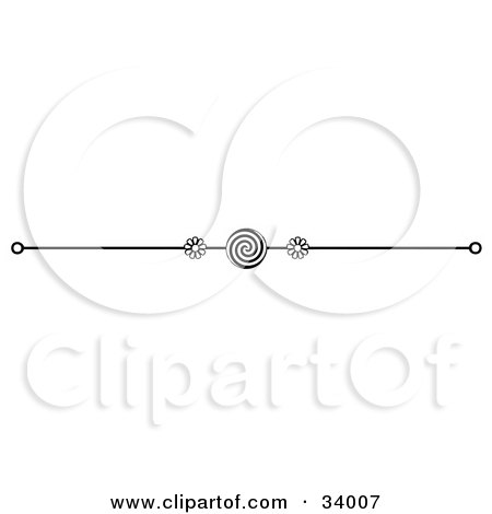 Clipart Illustration of a Black And White Swirl And Floral Header, Divider, Banner Or Lower Back Tattoo Design by C Charley-Franzwa