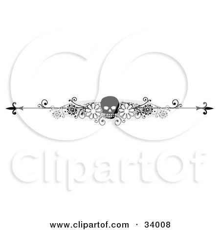 Black And White Floral Skull Header, Divider, Banner Or Lower Back Tattoo Design Posters, Art Prints