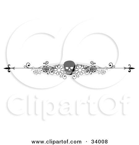 Clipart Illustration of a Black And White Floral Skull Header, Divider, Banner Or Lower Back Tattoo Design by C Charley-Franzwa