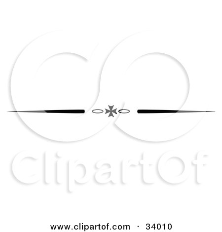 Clipart Illustration of a Black And White Iron Cross And Oval Header, Divider, Banner Or Lower Back Tattoo Design by C Charley-Franzwa