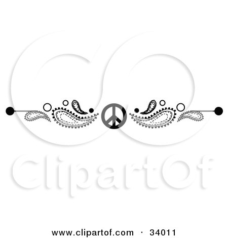 Clipart Illustration of a Black And White Paisley And Peace Symbol Header, Divider, Banner Or Lower Back Tattoo Design by C Charley-Franzwa