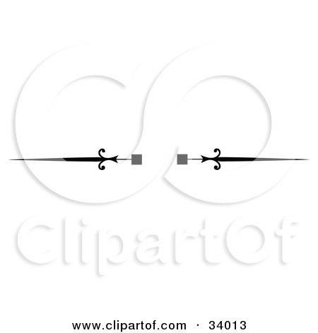 Clipart Illustration of a Black And White Square And Spear Header, Divider, Banner Or Lower Back Tattoo Design by C Charley-Franzwa