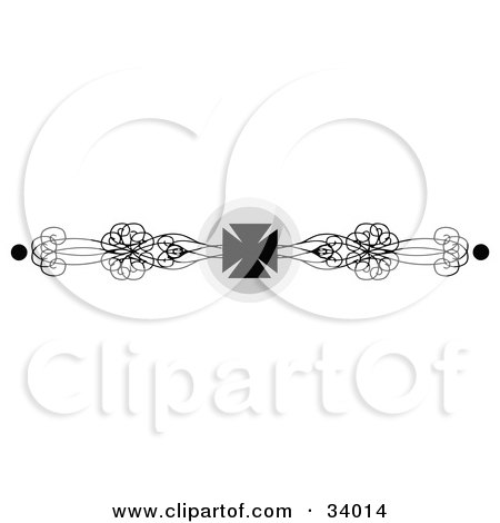 Clipart Illustration of a Black And White Iron Cross And Ornate Scrolls Header, Divider, Banner Or Lower Back Tattoo Design by C Charley-Franzwa