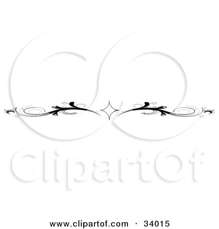 Clipart Illustration of a Black And White Diamond And Scroll Header, Divider, Banner Or Lower Back Tattoo Design by C Charley-Franzwa