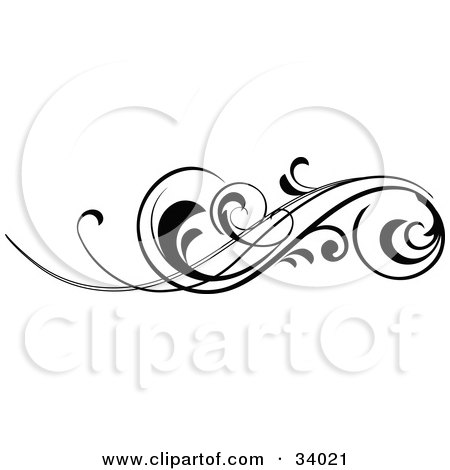Elegant Black Scroll With Curling Tips Posters, Art Prints