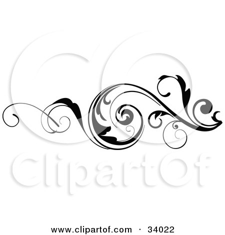 Curling Scrolled Vine In Black And White Posters, Art Prints