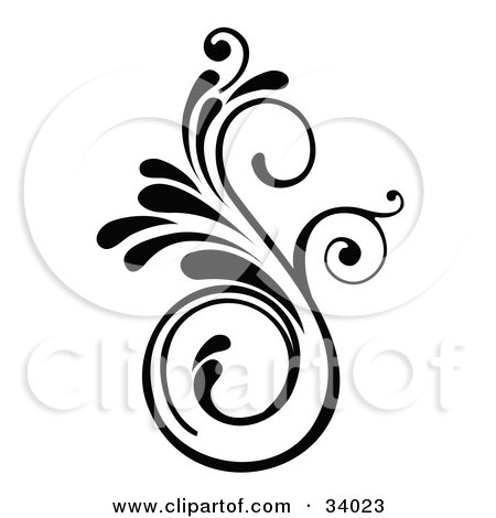 Clipart Illustration of a Curly S Shaped Scroll In Black And White by OnFocusMedia