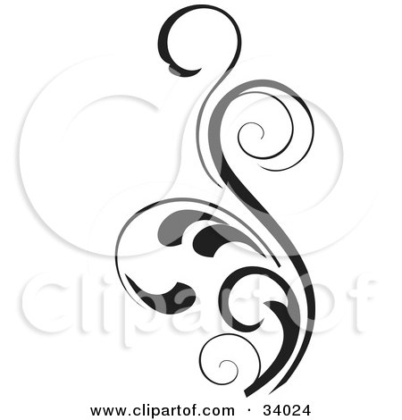 Clipart Illustration of a Curly Leaved Black Scroll by OnFocusMedia